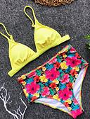 halpa Bikinis-Naisten Perus Keltainen Fuksia Kolmia Korkea vyötärö Tankini Uima-asut - Kukka Avoin selkä S M L Keltainen