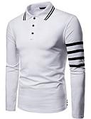 お買い得  メンズ・ベルト-男性用 シャツ シャツカラー ストライプ ホワイト L