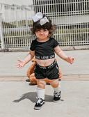 billige Sett med babyklær-Baby Jente Aktiv / Grunnleggende Trykt mønster Trykt mønster Kortermet Normal Normal Bomull Tøysett Svart