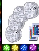 voordelige Dameshoeden-4pcs 3 W Onderwaterlampen Waterbestendig / Etäohjattu / Decoratief RGB 5.5 V Zwembad / Geschikt voor vazen en aquaria 10 LED-kralen
