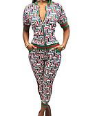 זול חליפות שני חלקים לנשים-מכנס / שמלות גיאומטרי - סט רזה כותנה בגדי ריקוד נשים