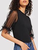 abordables Camisetas para Mujer-Mujer Retazos Camiseta Delgado Un Color Negro M