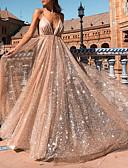 preiswerte Abendkleider-A-Linie Tiefer Ausschnitt Pinsel Schleppe Tüll Kleid mit Paillette durch LAN TING Express