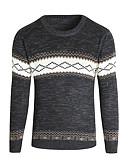 저렴한 남성 스웨터 & 가디건-남성용 일상 / 주말 베이직 기하학 긴 소매 보통 풀오버, 라운드 넥 봄 / 가을 / 겨울 화이트 / 블랙 / 루비 XL / XXL / XXXL