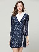 hesapli Mini Elbiseler-Kadın's Zarif Kombinezon Elbise - Çiçekli, Dantel Diz üstü