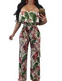 זול שורטים-L XL XXL פרחוני, סרבלים רגל רחבה פול תלתן לבן בגדי ריקוד נשים