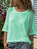 baratos Camisetas Femininas-Mulheres Camiseta Renda / Patchwork, Sólido