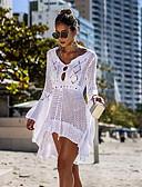 preiswerte Strandkleider-Damen Weiß Schwarz Beige Cover-Up Bademode - Solide M L Weiß