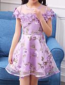 お買い得  女児 ドレス-子供 / 幼児 女の子 活発的 / 甘い フラワー レース / リボン 半袖 コットン / ポリエステル ドレス ブルー