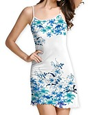 cheap Print Dresses-Women's Basic Sheath Dress - Geometric Patchwork White L XL XXL
