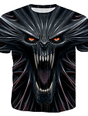 cheap Men's Tees & Tank Tops-Men's T-shirt - 3D / Cartoon / Skull Print Black XL