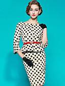 halpa Vintage-kuningatar-Naisten Tyylikäs Tuppi Mekko - Polka Dot, Painettu Midi