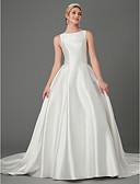 ราคาถูก ชุดแต่งงาน-เจ้าหญิง อัญมณี ชายกระโปรงคอร์ท ลูกไม้ / ซาติน ชุดแต่งงานที่ทำขึ้นเพื่อวัด กับ เข็มกลัด / โบว์ / กระดุม โดย LAN TING BRIDE®