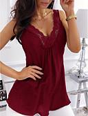 billige T-skjorter til damer-V-hals Store størrelser Singleter Dame - Ensfarget, Blonde Lilla