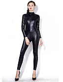 cheap Zentai Suits-Zentai Suits Catsuit Skin Suit Motorcycle Girl Adults' Cosplay Costumes Leotards Sex Black Solid Colored Patent Leather PU(Polyurethane) Women's Halloween Carnival