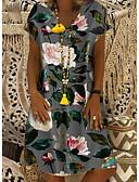 levne Print Dresses-Dámské Základní Štíhlý Shift Šaty - Květinový, Tisk Délka ke kolenům Hluboké U