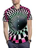 cheap Men's Tees & Tank Tops-Men's Shirt - 3D / Check Print Spread Collar Rainbow L / Short Sleeve / Summer