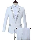 ieftine Blazer & Costume de Bărbați-Bărbați Muncă Afacere Regular Costume, Geometric Guler Peter Pan Manșon Lung Poliester Alb XXL / XXXL / XXXXL