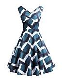 halpa Vintage-kuningatar-Naisten Perus Tyylikäs A-linja Tuppi Swing Mekko - Geometrinen Color Block, Avoin selkä Rypytetty Painettu Polvipituinen