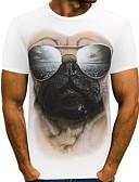 お買い得  メンズTシャツ&タンクトップ-男性用 Tシャツ ラウンドネック 動物 ホワイト XXXL