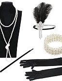 cheap Historical & Vintage Costumes-The Great Gatsby Charleston 1920s The Great Gatsby Costume Women's Masquerade Bead Bracelet Beaded Necklace Black Vintage Cosplay Party Halloween / Gloves