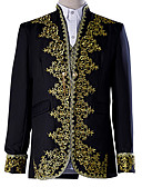 cheap Historical & Vintage Costumes-Prince Blouse / Shirt Cosplay Costume Masquerade Vest Blazer Jacket & Pants Men's Baroque Medieval 18th Century Halloween Carnival Festival / Holiday Lace Polyester Black Carnival Costumes Plus Size
