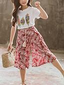 זול סטים של ביגוד לבנות-סט של בגדים שרוולים קצרים דפוס דפוס בוהו / סגנון רחוב בנות ילדים