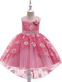 お買い得  女児 ドレス-子供 女の子 活発的 / 甘い ソリッド 刺繍 ノースリーブ アシメントリー ドレス ルビーレッド