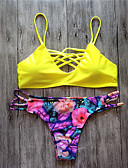 cheap Bikinis-Women's Boho Blue Red Yellow Triangle Thong Tankini Swimwear - Geometric Print S M L Blue