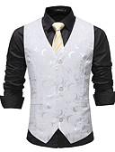 お買い得  メンズブレザー&スーツ-男性用 ベスト, 幾何学模様 Vネック スパンデックス ホワイト M / L / XL