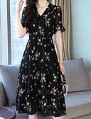 preiswerte Bedruckte Kleider-Damen Schlank Swing Kleid Midi V-Ausschnitt