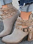 hesapli Kadın Kapşonluları-Kadın's Ayakkabı PU Sonbahar Kış Çizmeler Kalın Topuk Bootiler / Bilek Botları Günlük için Siyah / Bej / Kırmzı