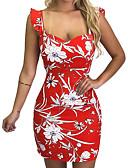 cheap Print Dresses-Women's Basic Boho Sheath Dress - Geometric Color Block White Black Red M L XL