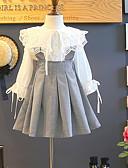 billige Pigekjoler-Børn Pige Gade Farveblok Langærmet Normal Polyester Tøjsæt Hvid