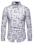 abordables Camisas de Hombre-Hombre Básico Algodón Camisa Bloques Blanco XL / Manga Larga