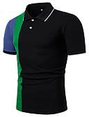 זול חולצות פולו לגברים-קולור בלוק צווארון חולצה בסיסי / אלגנטית כותנה, Polo - בגדי ריקוד גברים שחור / שרוול ארוך