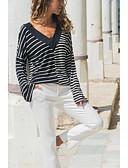 abordables Camisetas para Mujer-Mujer Retazos Camiseta, Escote en Pico A Rayas Negro M