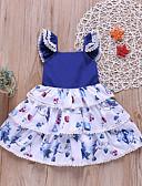 Χαμηλού Κόστους Βρεφικά φορέματα-Μωρό Κοριτσίστικα Μπόχο / Κομψό στυλ street Στάμπα Δαντέλα / Στάμπα Αμάνικο Πάνω από το Γόνατο Βαμβάκι Φόρεμα Μπλε