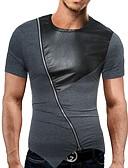 お買い得  メンズTシャツ&タンクトップ-男性用 パッチワーク Tシャツ ラウンドネック カラーブロック コットン ダックグレー L
