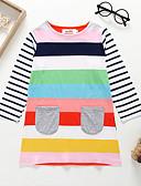 Χαμηλού Κόστους Φορέματα για κορίτσια-Παιδιά / Νήπιο Κοριτσίστικα Βασικό / χαριτωμένο στυλ Ριγέ / Συνδυασμός Χρωμάτων / Patchwork Patchwork / Στάμπα Μακρυμάνικο Βαμβάκι Φόρεμα Ουράνιο Τόξο