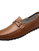 cheap Men's Blazers & Suits-Men's Moccasin Cowhide / PU(Polyurethane) Spring Casual Loafers & Slip-Ons Non-slipping Black / Light Brown / Dark Brown