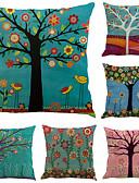 Χαμηλού Κόστους Φορέματα για κορίτσια-6 τεμ Βαμβάκι / Λινό Μαξιλαροθήκη, Δέντρα / Φύλλα Φύλλο Φλοράλ Γιορτή Τροπικό