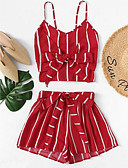 cheap Women's Two Piece Sets-Women's Boho / Sophisticated Tank Top - Striped, Bow / Pleated Pant
