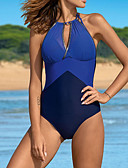 cheap One-piece swimsuits-Women's Basic Navy Blue Light Blue Royal Blue Cheeky One-piece Swimwear - Solid Colored L XL XXL Navy Blue