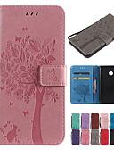 Недорогие Чехол Samsung-Кейс для Назначение Sony Sony Xperia L3 / Sony Xperia 10 / Sony Xperia 10 Plus Кошелек / Бумажник для карт / со стендом Чехол Однотонный / Кот / дерево Твердый Кожа PU