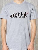 זול טישרטים לגופיות לגברים-גראפי צווארון עגול רזה טישרט - בגדי ריקוד גברים לבן