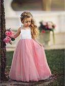 お買い得  女児 ドレス-子供 女の子 ベーシック ソリッド ノースリーブ ドレス ピンク