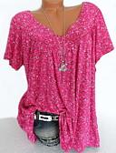 economico Bluse da donna-T-shirt Per donna Fantasia floreale A V - Cotone Nero XXXL / Taglia piccola