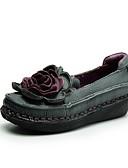 hesapli Kadın Etekleri-Kadın's Ayakkabı Deri İlkbahar & Kış Mokasen & Bağcıksız Ayakkabılar Dolgu Topuk Günlük için Siyah / Gri