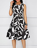 cheap Print Dresses-2019 New Arrival Dresses Women's Basic A Line Sheath Dress Elbise Vestidos Robe Femme - Geometric Black Red Yellow L XL XXL